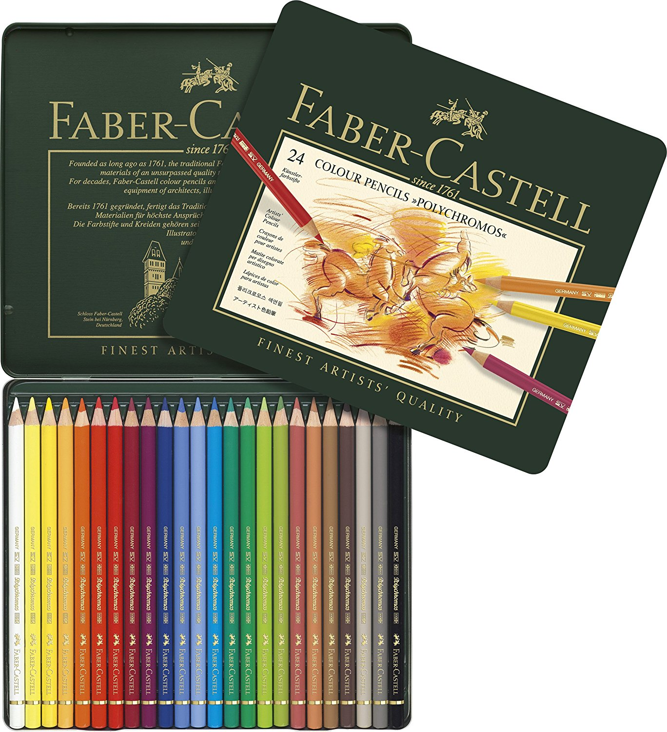 Faber-Castell 24 Piece Polychromous Colored Pencil Set In Metal Tin ...